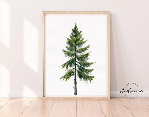 Evergreen Tree Printable Wall Art Scandinavian Pine Tree Watercolor Painting Farmhouse Art Waterc Ar In 2020 Tree Watercolor Painting Watercolor Trees Farmhouse Art