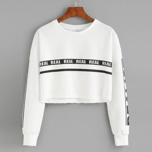 Women's Fashion Sweatshirt Womens White Letter Print Crop Sweatshirt Top dropshipping uotelab