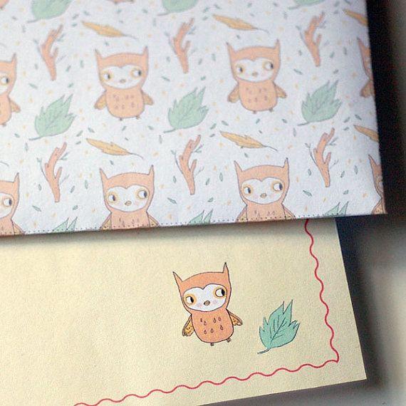 Owl Stationery Kit   Envelopes, Letter Paper