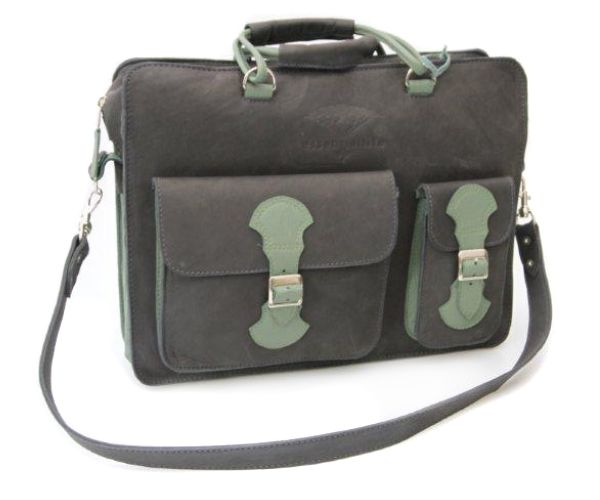 Going back to the classics - old school Briefcase in charcoal and green - padded to protect your laptop. With detachable strap and comfy carry handle. #leather #luggage #briefcase