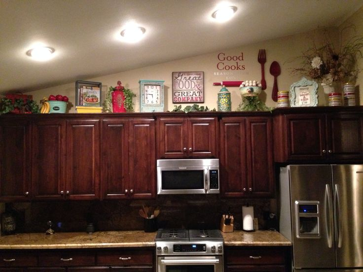 Above kitchen cabinet decor home decor ideas pinterest What can i put on my sideboard