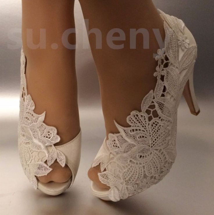 "45debba566d1 su.cheny 3"" 4"" heel white ivory silk lace peep toe crystal Wedding Bridal  shoes"