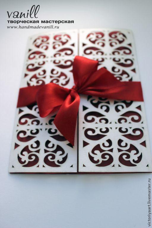 """Купить Приглашение """"Кружевные ворота"""" - серебряный, кружево, приглашения на свадьбу, приглашения, кружевная свадьба, свадьба"""