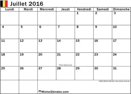 calendrier juillet 2016 à imprimer gratuitement Jours fériés en Belgique lundi
