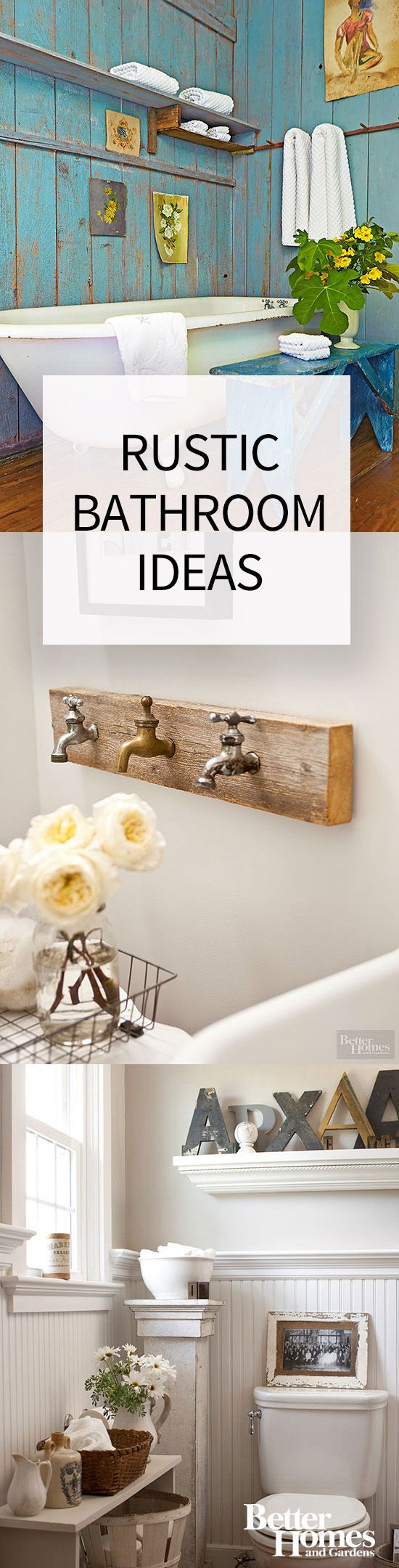 Unpolished wood with a weathered look, old-fashioned and vintage décor, and a classic tub with romantic antique accents are a few ways to create a beautiful rustic bathroom. Also, try repurposing historic items found in flea markets or antique stores. Don't forget about color and texture when designing your rustic restroom!