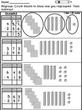three digit subtraction with regrouping teaching. Black Bedroom Furniture Sets. Home Design Ideas