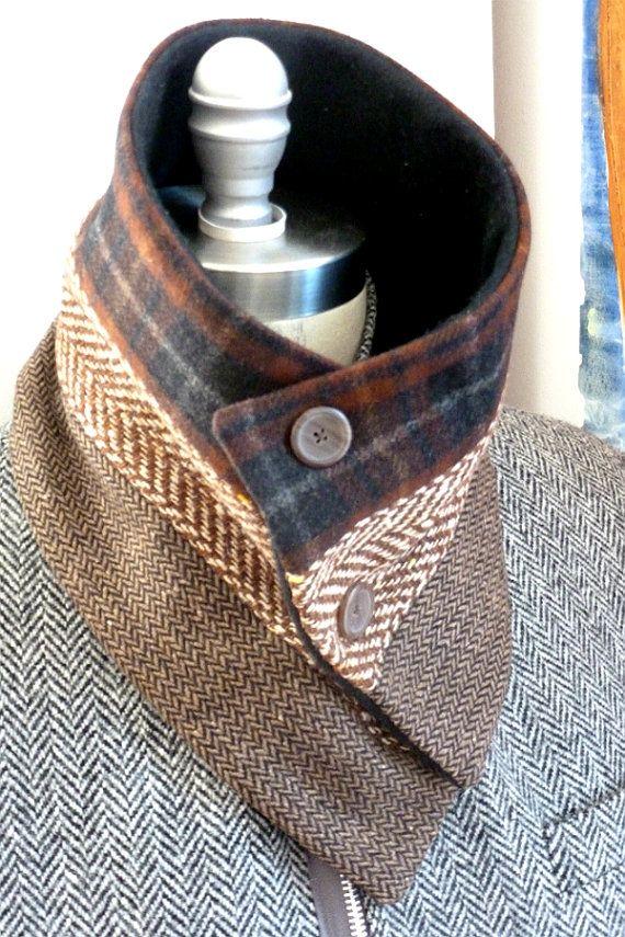 3 panel sjaal #3 wol nek warmer /button bevestiger /tweed sjaal muffler / bekleed met warme fleece door Wendel Johnston. Wol en vachten Afmetingen: 29 L X H 7 1/2