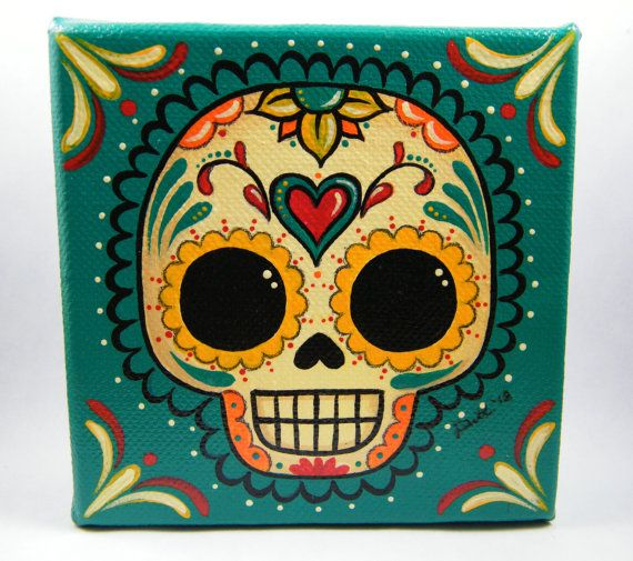 Sugar Skull Canvas Painting by MyMayanColors on Etsy