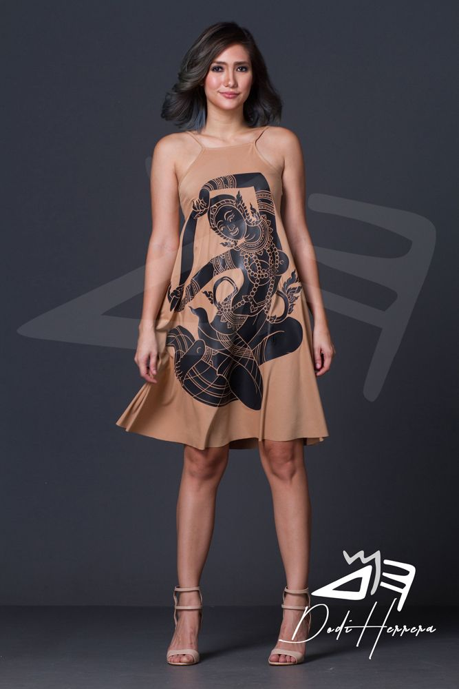 Cebu Gown Manufacturer Brown Dress With Print Accent Cebu Fashion