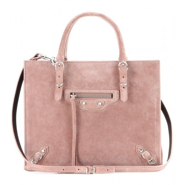 Balenciaga Mini Papier A4 Zip-Around Suede Shoulder Bag (21,665 MXN) ❤ liked on Polyvore featuring bags, handbags, shoulder bags, purses, bolsas, borse, pink, mini purse, beige handbags y pink purse