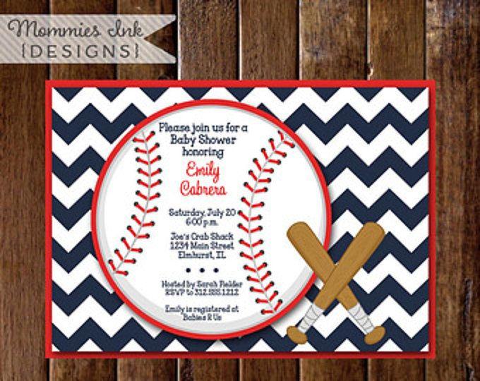 Baby Shower Invitation, Baseball Baby Shower Invitation, Chevron Baby Shower Invitation, Baseball Invite, Baseball Party, Baseball Theme