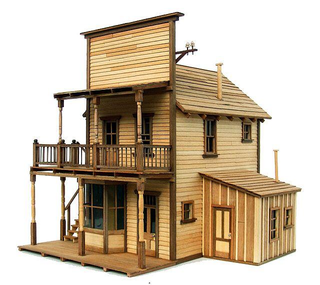 Bordello Saloon Bar, modello completamente in legno, stile originale Old West. Autocostruzione.