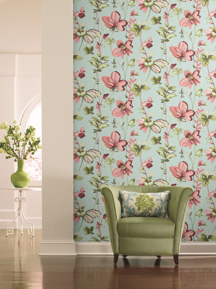 Watercolour inspired floral wallpaper in soft pinks, blue and green, from the Watercolours collection by Carey Lind Designs, WT4542 by York Wallcoverings. Available through Guthrie Bowron stores in New Zealand.