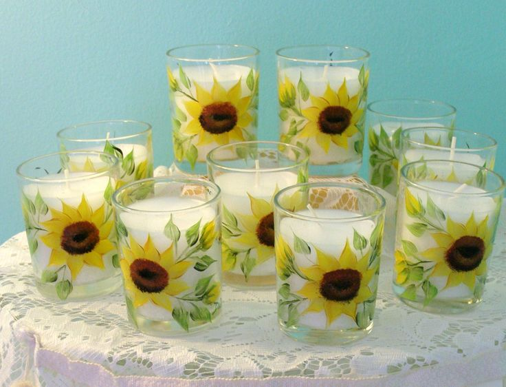 Sunflower Votive Candles Favors Hand Painted By Dori At
