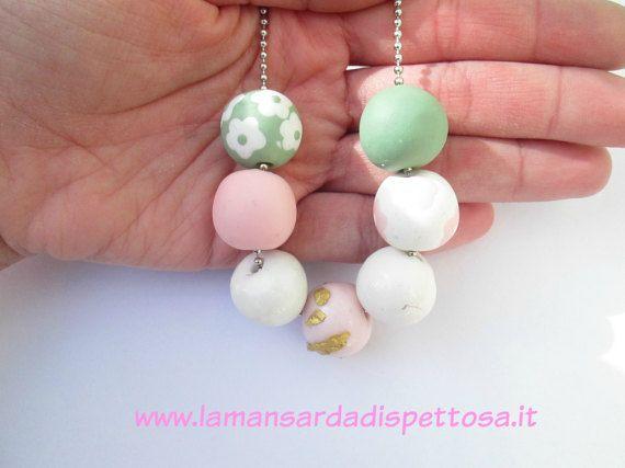 Collana con perle fatte a mano in fimo di mansardadispettosa