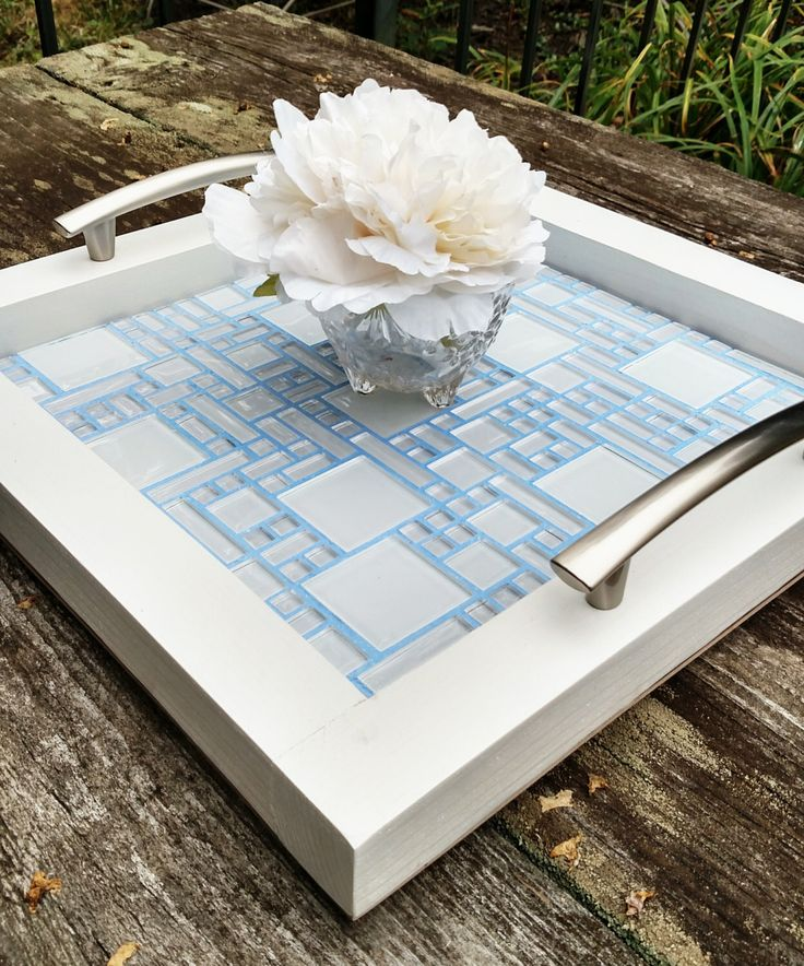 Serving Tray-Glass Mosaic Tile with Lavender Grout-Brushed Nickel Handles-Handmade-White Finish-Ottoman Tray-Contemporary by TraysAndTables on Etsy https://www.etsy.com/listing/250564559/serving-tray-glass-mosaic-tile-with