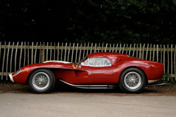 "1958 Ferrari 250 Testa Rossa Coupé; Named for the red valve covers, the original 250 TR had unorthodox bodywork by Scaglietti. The front fenders are visually separated from the central ""nacelle"" body, a design inspired by Formula One racers, with air ducting across the front brakes and out through the open area behind the wheels, this model is often called the ""Pontoon"" TR."