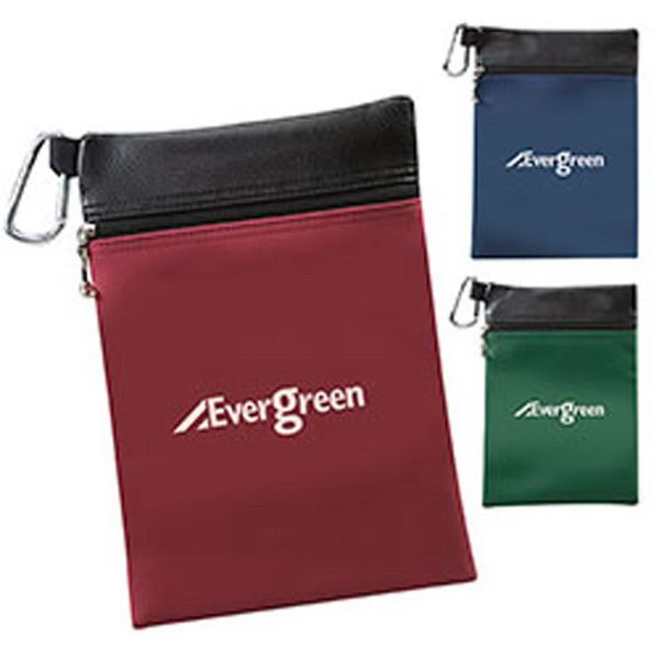 Your competition won't stand a chance when you market the Tees-N-Things Pouch at future events! This handy pouch is made of a sanded PVC vinyl material and equipped with a metal carabiner that can easily be attached to any golf bag. The Tees-N-Things Pouch has room for all of your accessories and available in a variety of colors to pick from. A large section is left on the pouch for you to add on a message or logo!