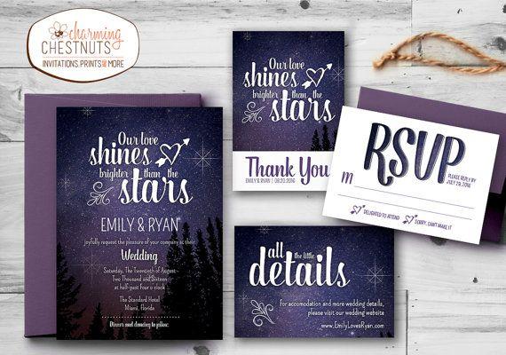 Starry Night Wedding Invitation Set, Printable wedding invitation, Personalized wedding invitation, our love is bright, Stars, Purple