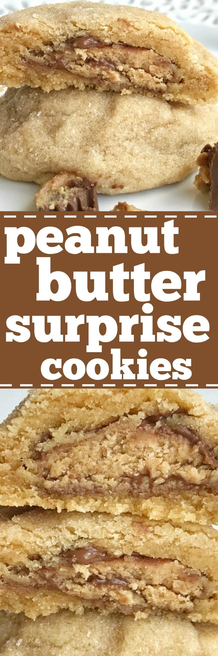 Thick & puffy peanut butter cookies stuffed with a surprise of a miniature Reese's peanut butter cup!