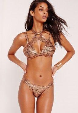 Premium Metallic Bandage Bikini Set Rose Gold
