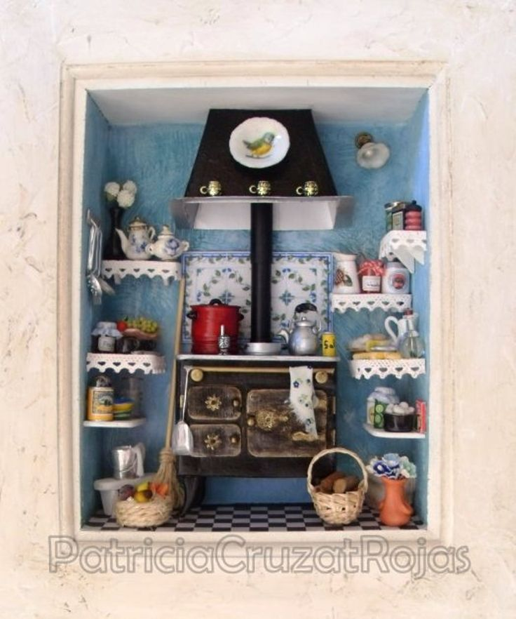 miniature kitchen room box cuadro cocina con miniaturas