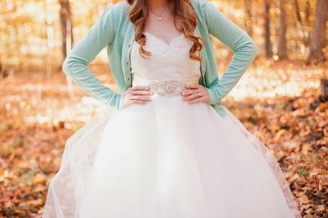 Mint green cardigan with wedding dress