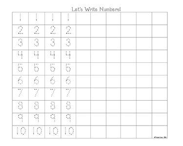 Let's write numbers. Esta hoja ayuda a practicar los números.
