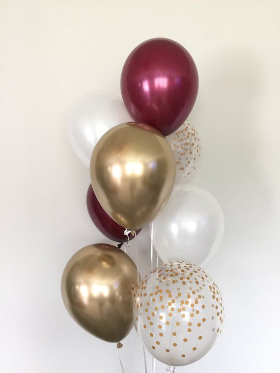 Burgundy And White Balloons Burgundy Wedding Decor Etsy Burgundy Baby Shower Gold Bridal Showers Gold Graduation Party
