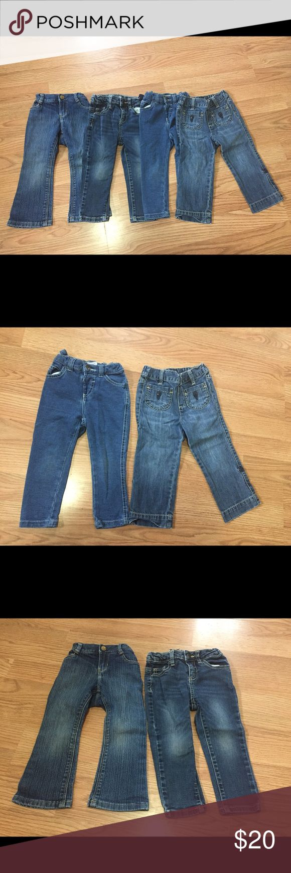Bundle of 4 pairs of jeans. 2 Joe Fresh skinny (1 jogging) both adjustable waist. 1 pair Old Navy boot cut adjustable waist. 1 GAP elastic waist. In good shape, fading on some knees as pictured. GAP Bottoms Jeans