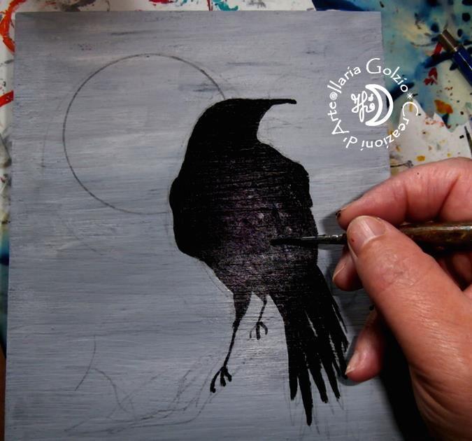 """CROWS"" - Mentre sto dipingendo una tavola in legno"