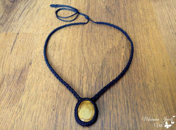 Macrame Necklace with Yellow Beach by MacrameJewelsVili on Etsy