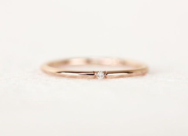 Single Diamond Gold Wedding Band, Stackable Dainty 14k Solid Gold Ring, Simple Diamond Wedding Ring by KHIMJEWELRY on Etsy https://www.etsy.com/listing/244670152/single-diamond-gold-wedding-band