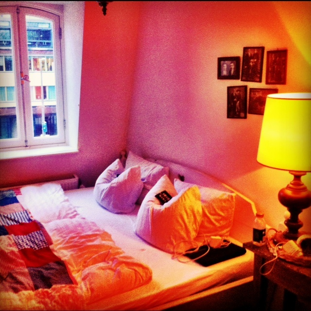 Double room at Cocomama -- a hostel in Amsterdam that was once a famous brothel.