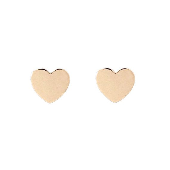 Small Heart Screw Back 14K Solid Gold Earring Studs Dainty