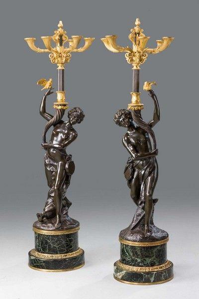 "Pair of Italian Bronze Candelabra Ca1880 to 1900 England. 50""H x 12""W x 12""D."