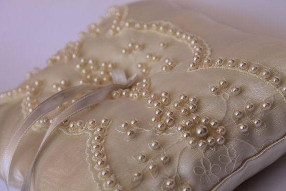 satin pearl ivory ring pillow / wedding decor by cornerofthegarden, $42.00