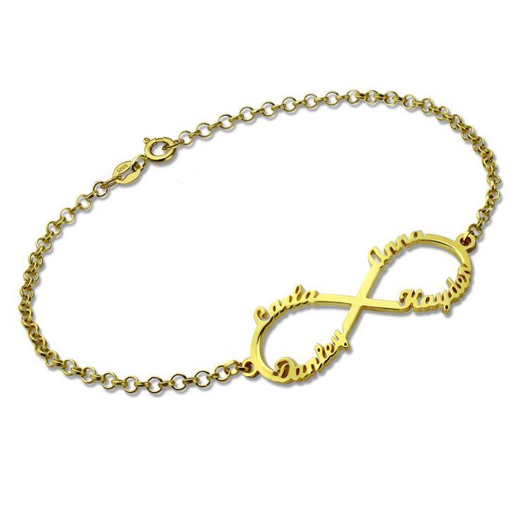 Four Custom Names Infinity Gold Bracelet