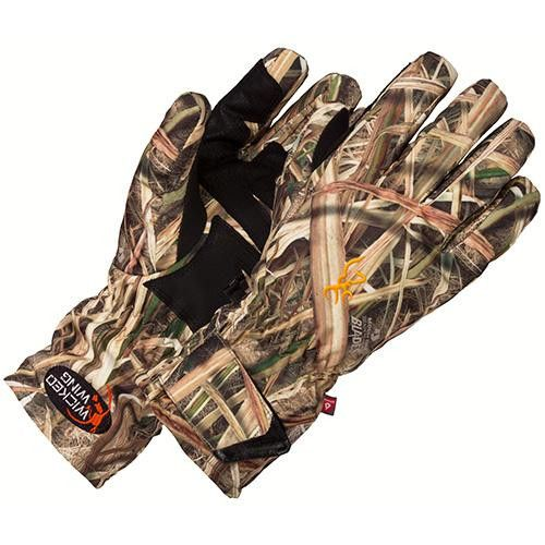 Wicked Wing Insulated Gloves - Large, Mossy Oak Shadow Grass Blades. Wicked Wing Insulated Gloves - Large, Mossy Oak Shadow Grass BladesManufacture ID: 3073022503Browning Wicked Wing Insulated Glove,PrimaLoft One insulated waterproof glove with durable overlay on palm, thumb and fingers.Stay warm, hunt longer, and have fun while doing it. When your hands are cold and wet and your fingers feel like ten stiff icicles about to shatter all over the bottom of the duck blind, it's hard to focus on…