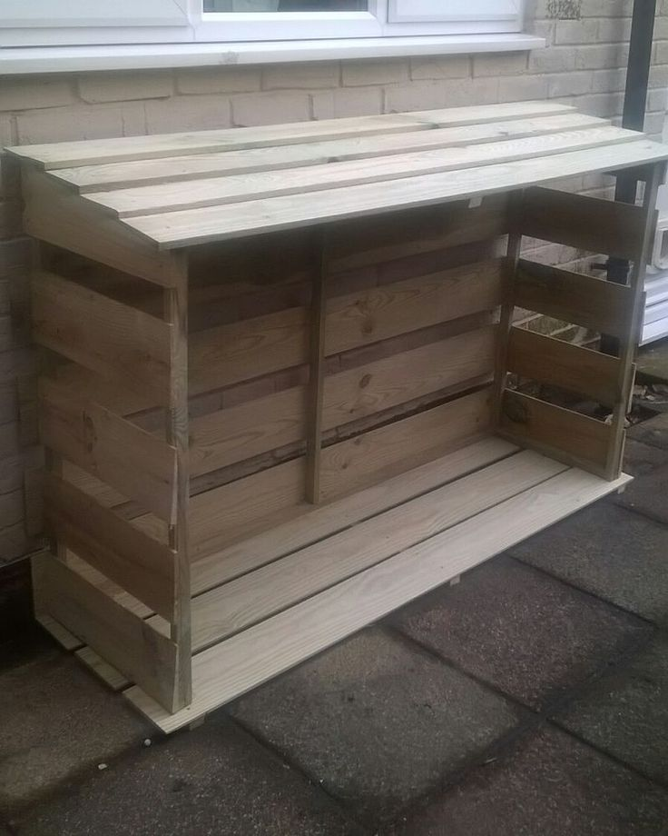 Wooden log store, dry store, firewood, outdoor, garden, shelter, logs, 1m wide