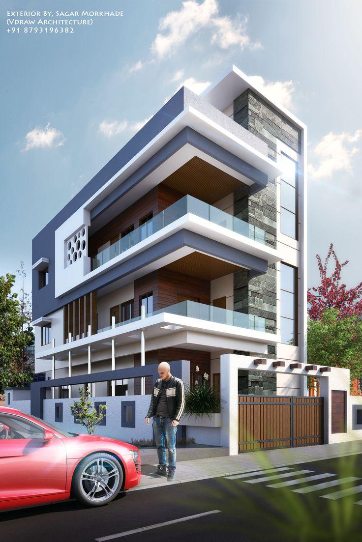 Modern House Bungalow Exterior By Ar Sagar Morkhade Vdraw Architecture 91 8793196382: Exterior By, Sagar Morkhade (Vdraw Architecture) +91 8793196382