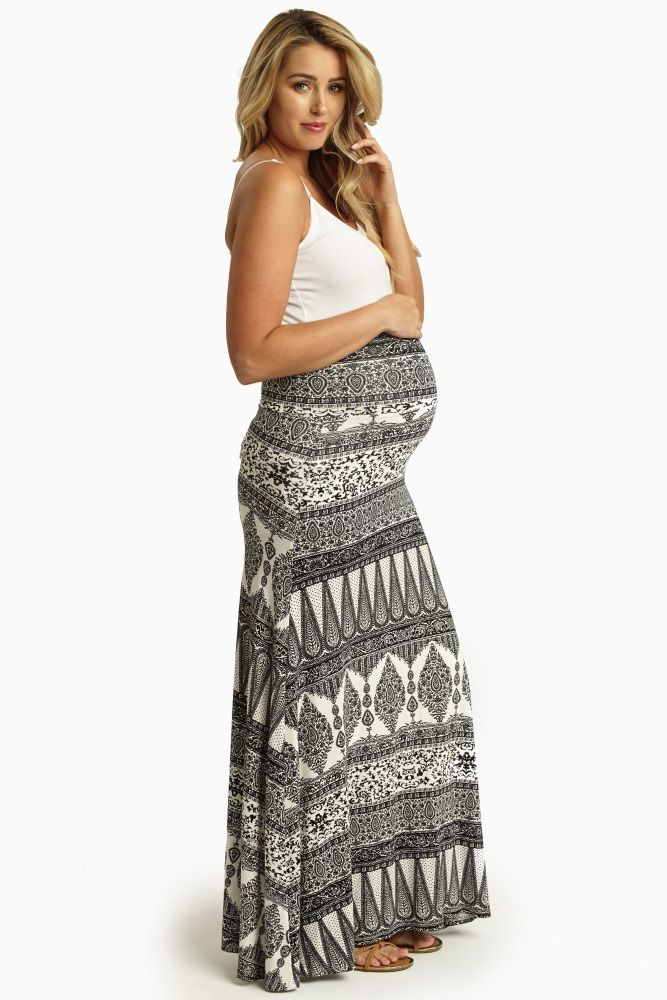 Keep it casual and comfortable this season by pairing this gorgeously printed maternity maxi skirt with a solid top.