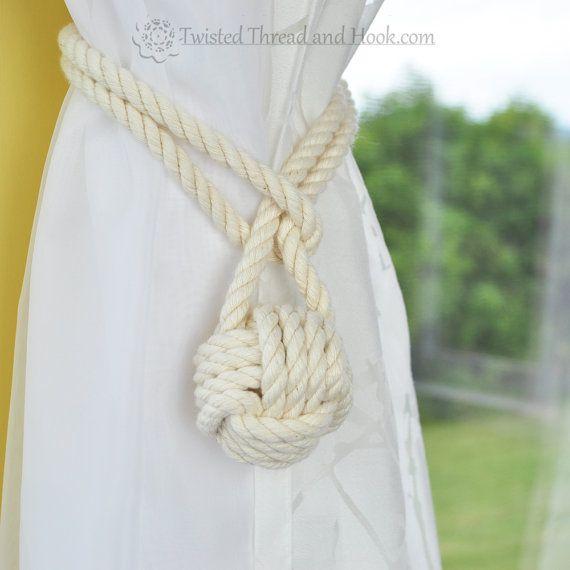 1 Pair of Monkey Fist Knot Curtain Tiebacks with Full Loop - Nautical tiebacks - Rope Decor - Rope curtain tiebacks - Monkey Fist