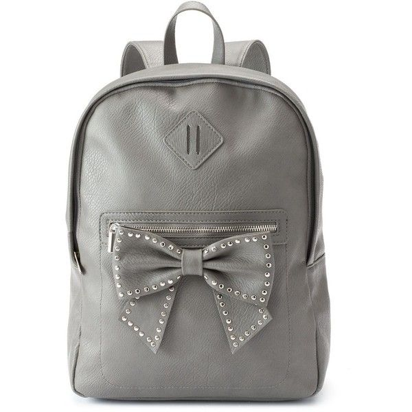 Candie's Carly Dome Bow & Studs Backpack, Grey found on Polyvore featuring bags, backpacks, purses, grey, miniature backpack, zippered faux leather backpack, vegan backpack, zipper bag and candie's