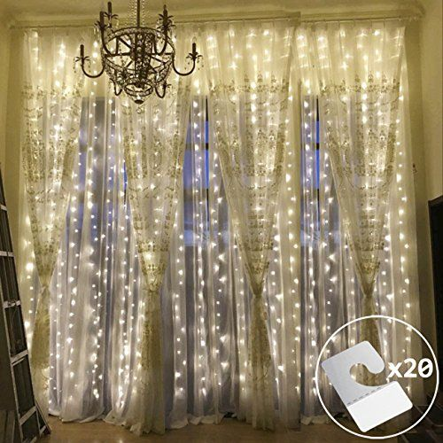 Outop Double Link Design 9.8FT 304 LED 8 Model Window Curtain String Lights Icicle Fairy Lights for Wedding Ceremony Christmas Party Celebration Home Patio Lawn Garden Decorations(Warm White)  Energy efficient: 304LEDs double link window curtain lights,110v US standard total power 11w, low voltage and safety to use.  Convenience: Multiple sets lights connected together can be controlled synchronously. We suggest that no more than 6 sets connect together. Come with 20 PCs PVC paste hook...