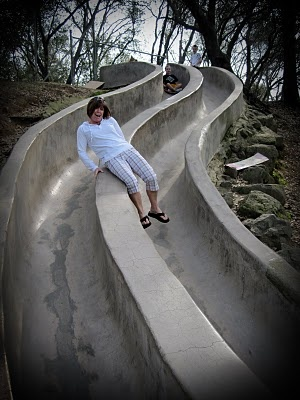 Bring your bags, bring your kids, detour over to the cement slides in Roseville, CA