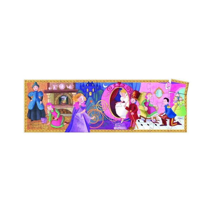 Didaktické puzzle pro děti od 4 let v dárkové krabičce. Děti skládají v jednom puzzle obrázky tří klíčových okamžiků známé pohádky O Popelce.