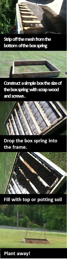 What to do with your old box spring... how about using it for a raised garden bed base!
