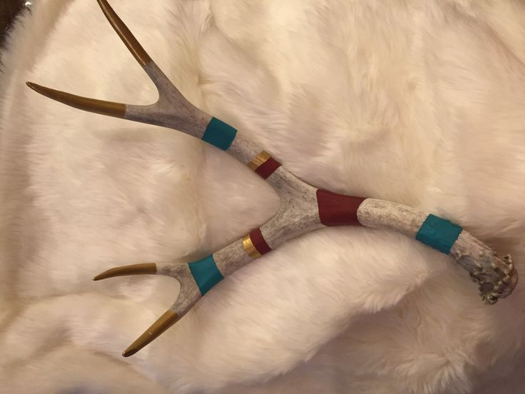Painted Antlers by BarbWireAndDiamonds on Etsy