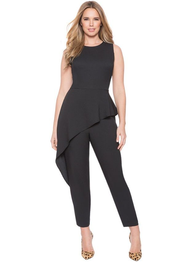 bb2affbba2e Black Peplum Plus Size Jumpsuit - Scoop neckline and slightly cropped
